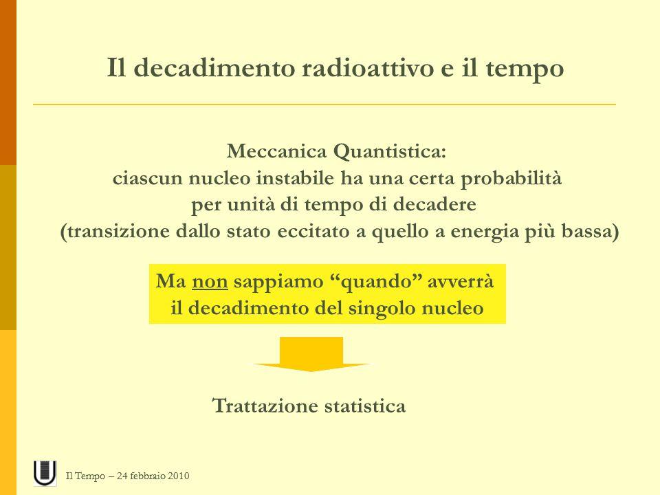 Il decadimento radioattivo e il tempo Meccanica Quantistica: ciascun nucleo instabile ha una certa probabilità per unità di tempo di decadere (transiz