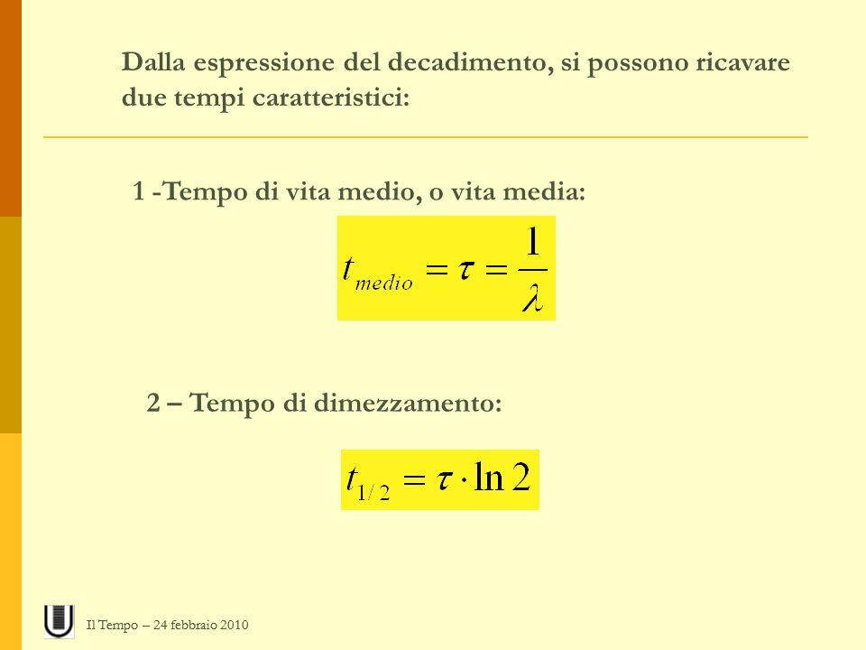 Dalla espressione del decadimento, si possono ricavare due tempi caratteristici: 1 -Tempo di vita medio, o vita media: 2 – Tempo di dimezzamento: Il T