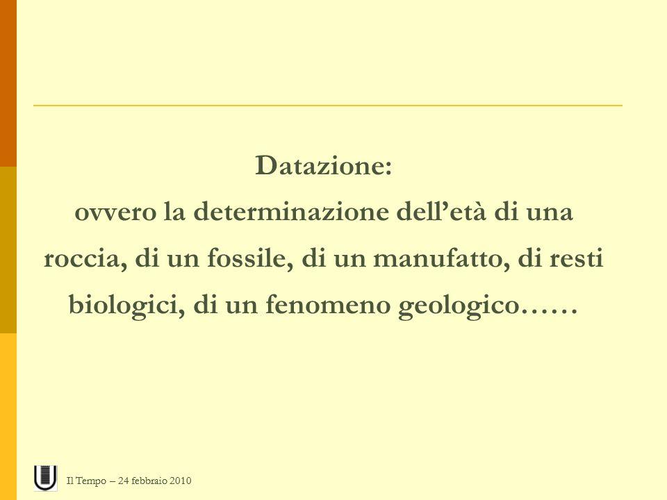 Datazione: ovvero la determinazione delletà di una roccia, di un fossile, di un manufatto, di resti biologici, di un fenomeno geologico…… Il Tempo – 2