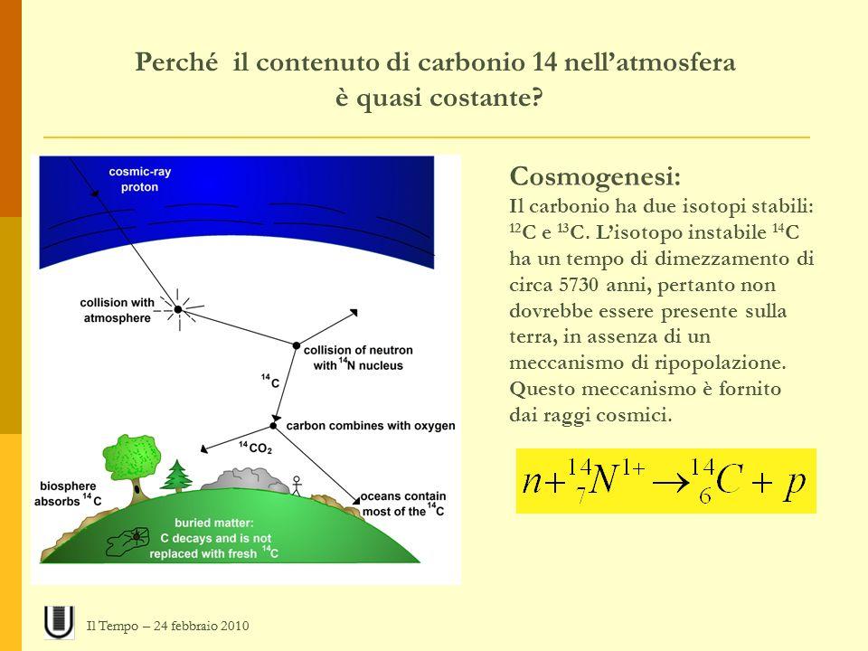Perché il contenuto di carbonio 14 nellatmosfera è quasi costante? Cosmogenesi: Il carbonio ha due isotopi stabili: 12 C e 13 C. Lisotopo instabile 14