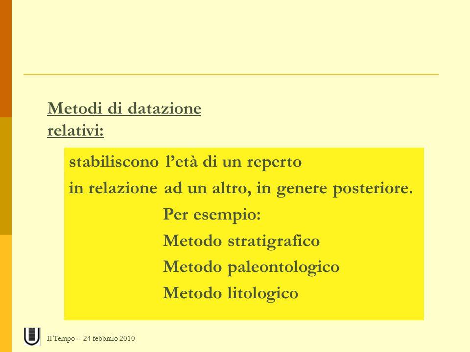 Metodi di datazione relativi: stabiliscono letà di un reperto in relazione ad un altro, in genere posteriore. Per esempio: Metodo stratigrafico Metodo