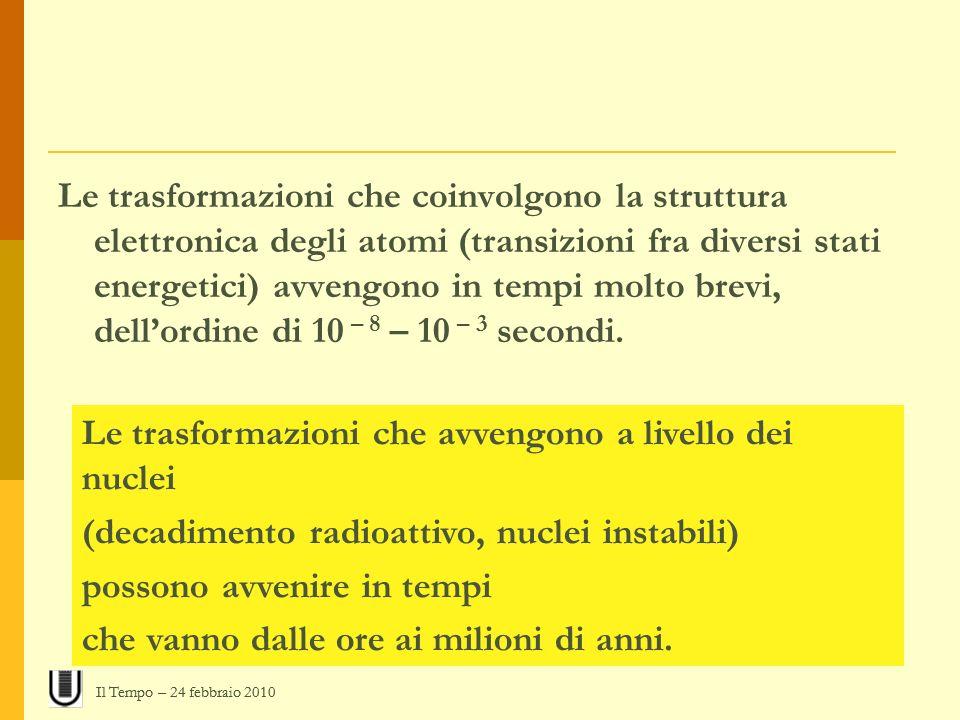 Le trasformazioni che coinvolgono la struttura elettronica degli atomi (transizioni fra diversi stati energetici) avvengono in tempi molto brevi, dell