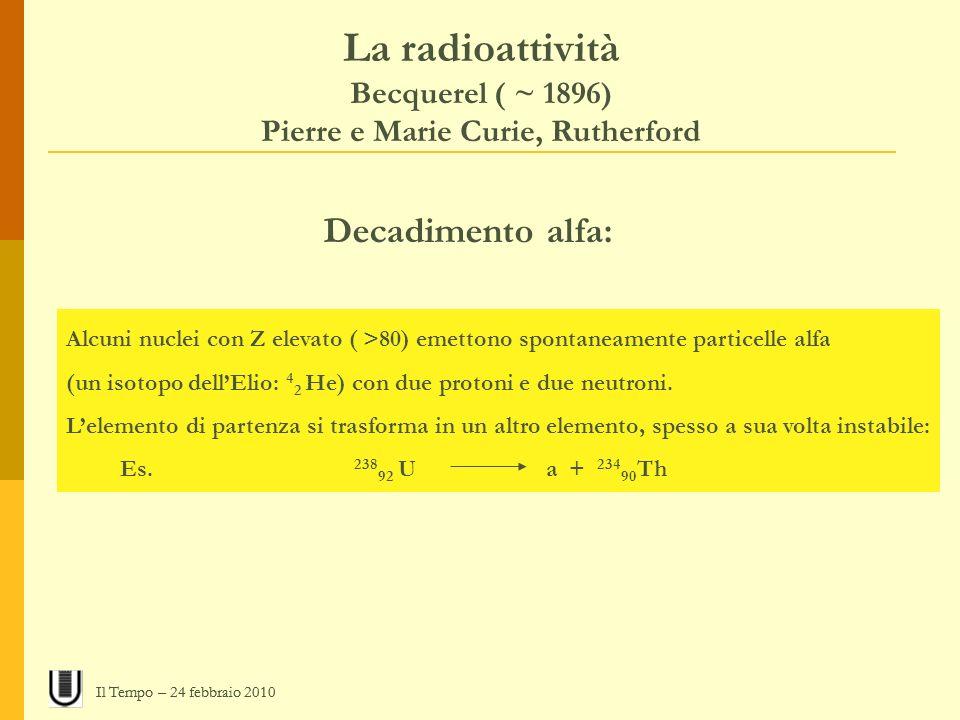 La radioattività Becquerel ( ~ 1896) Pierre e Marie Curie, Rutherford Decadimento alfa: Alcuni nuclei con Z elevato ( >80) emettono spontaneamente par