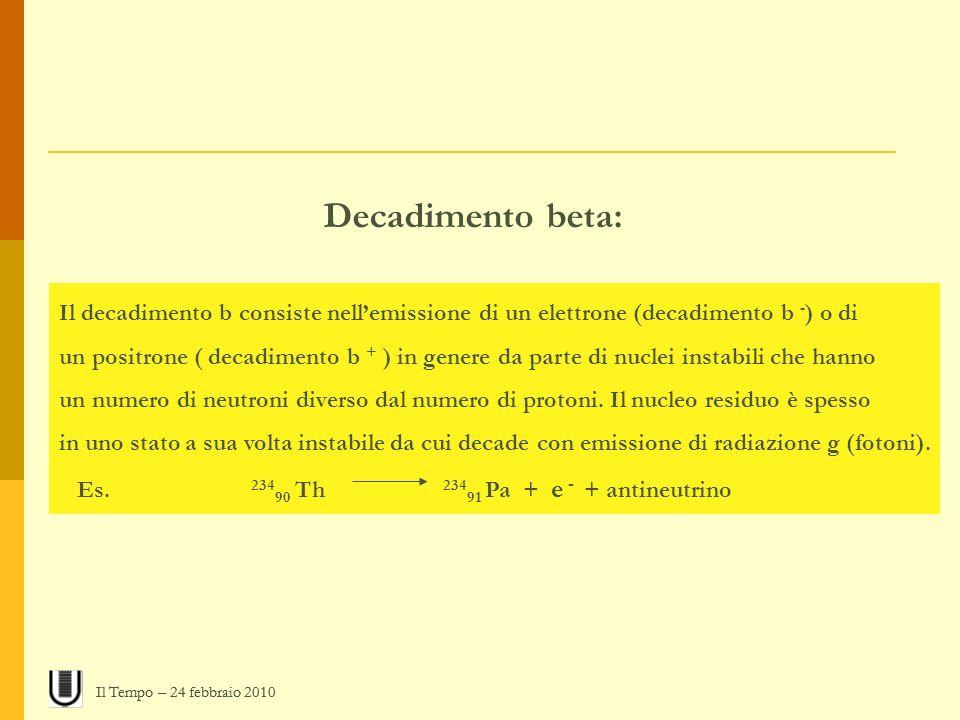 Decadimento beta: Il decadimento b consiste nellemissione di un elettrone (decadimento b - ) o di un positrone ( decadimento b + ) in genere da parte