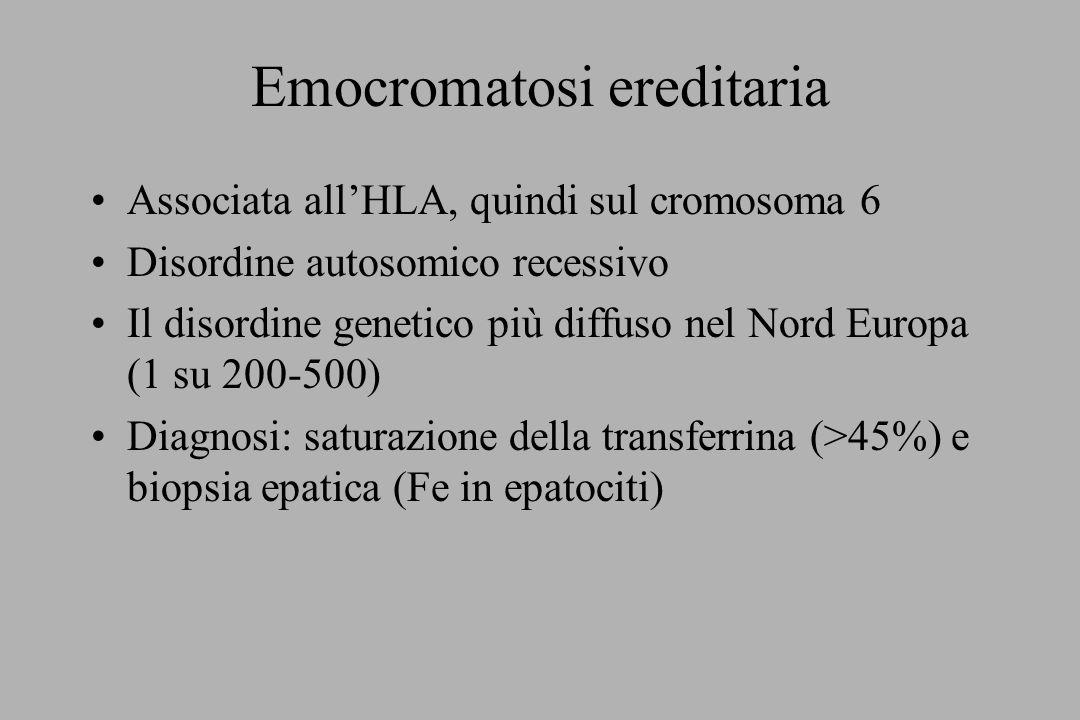 Emocromatosi ereditaria Associata allHLA, quindi sul cromosoma 6 Disordine autosomico recessivo Il disordine genetico più diffuso nel Nord Europa (1 s