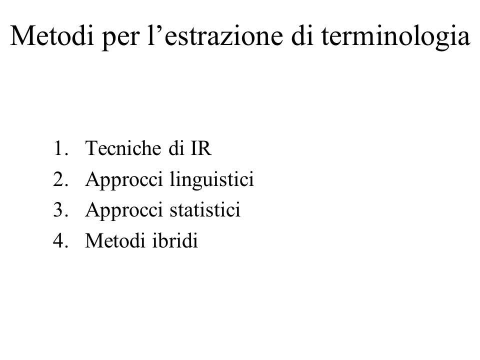 Metodi per lestrazione di terminologia 1.Tecniche di IR 2.Approcci linguistici 3.Approcci statistici 4.Metodi ibridi