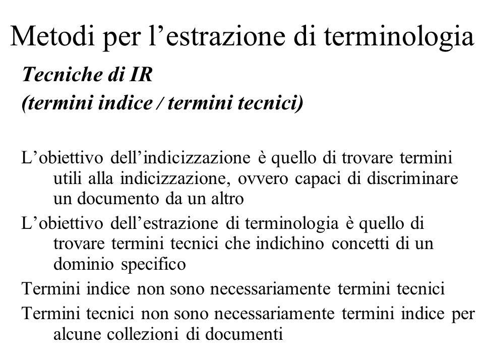 Metodi per lestrazione di terminologia Tecniche di IR (termini indice / termini tecnici) Lobiettivo dellindicizzazione è quello di trovare termini uti
