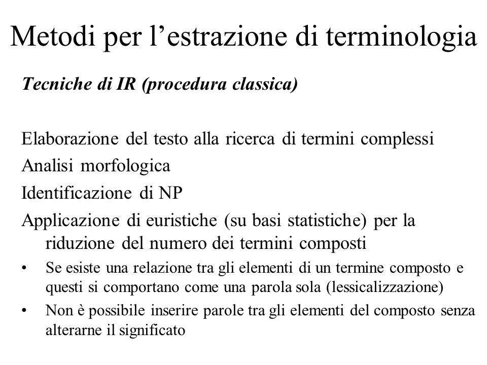 Metodi per lestrazione di terminologia Tecniche di IR (procedura classica) Elaborazione del testo alla ricerca di termini complessi Analisi morfologic