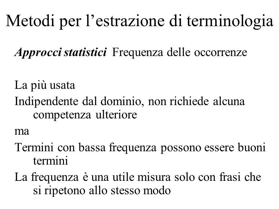 Metodi per lestrazione di terminologia Approcci statistici Frequenza delle occorrenze La più usata Indipendente dal dominio, non richiede alcuna compe
