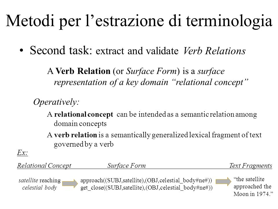 Metodi per lestrazione di terminologia Second task: extract and validate Verb Relations A Verb Relation (or Surface Form) is a surface representation