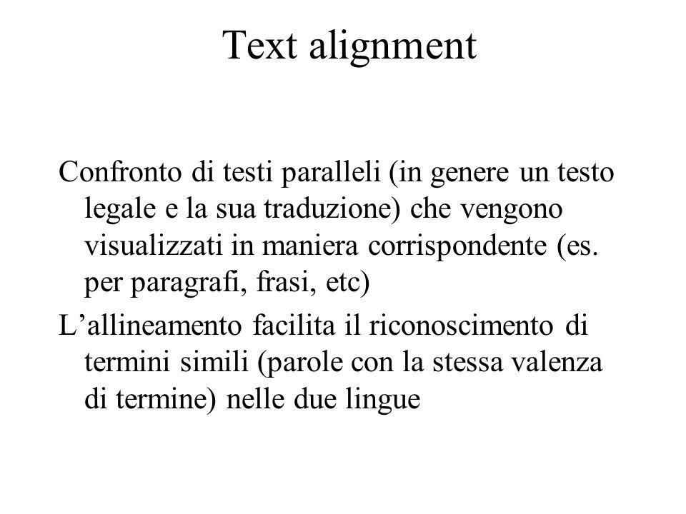 Text alignment Confronto di testi paralleli (in genere un testo legale e la sua traduzione) che vengono visualizzati in maniera corrispondente (es. pe