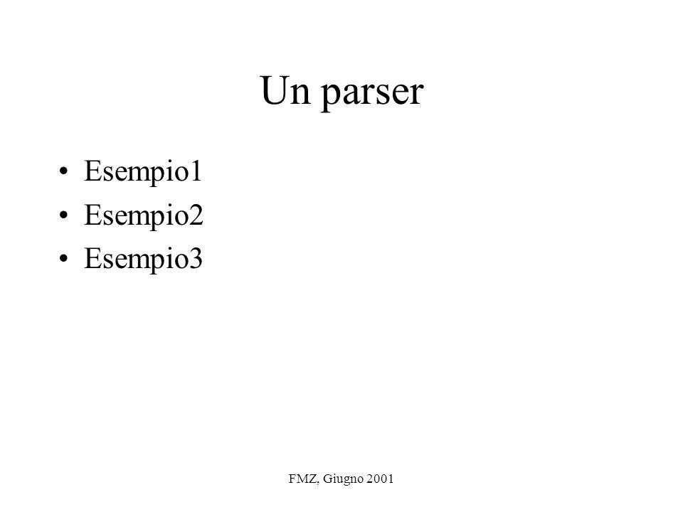 FMZ, Giugno 2001 Un parser Esempio1 Esempio2 Esempio3