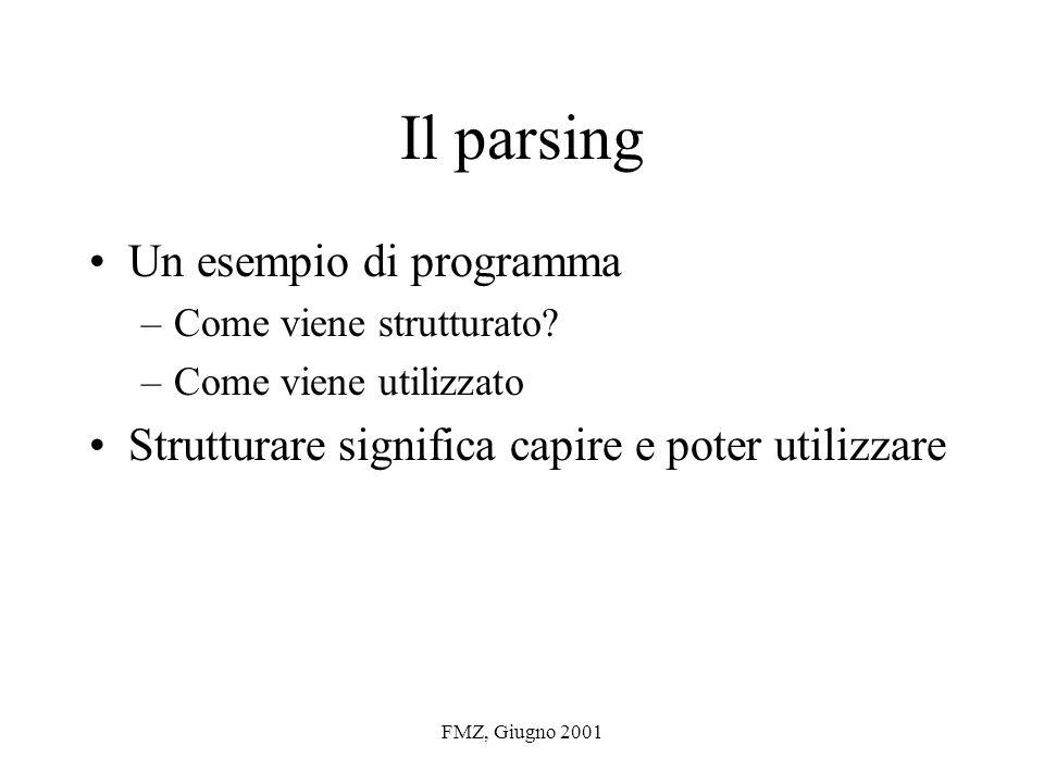 FMZ, Giugno 2001 Il parsing Un esempio di programma –Come viene strutturato.