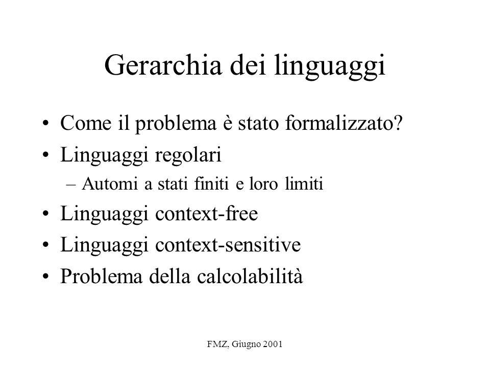 FMZ, Giugno 2001 Gerarchia dei linguaggi Come il problema è stato formalizzato.