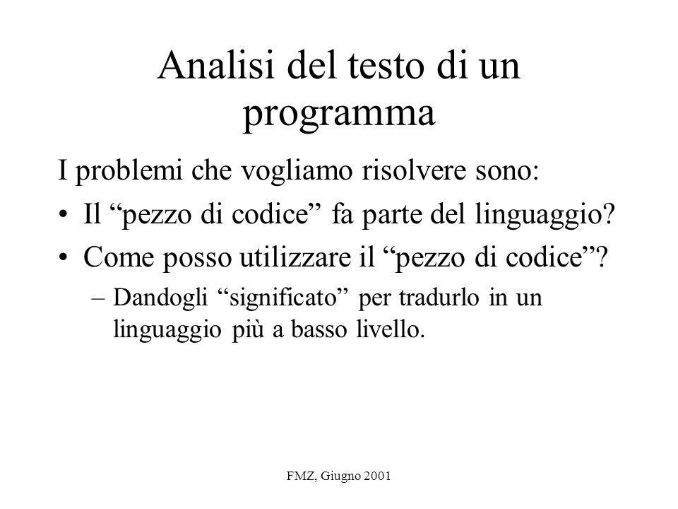FMZ, Giugno 2001 Linguaggi naturali Problemi intrinseci: –Ambiguità (genuina oppure introdotta dal modello) –Copertura