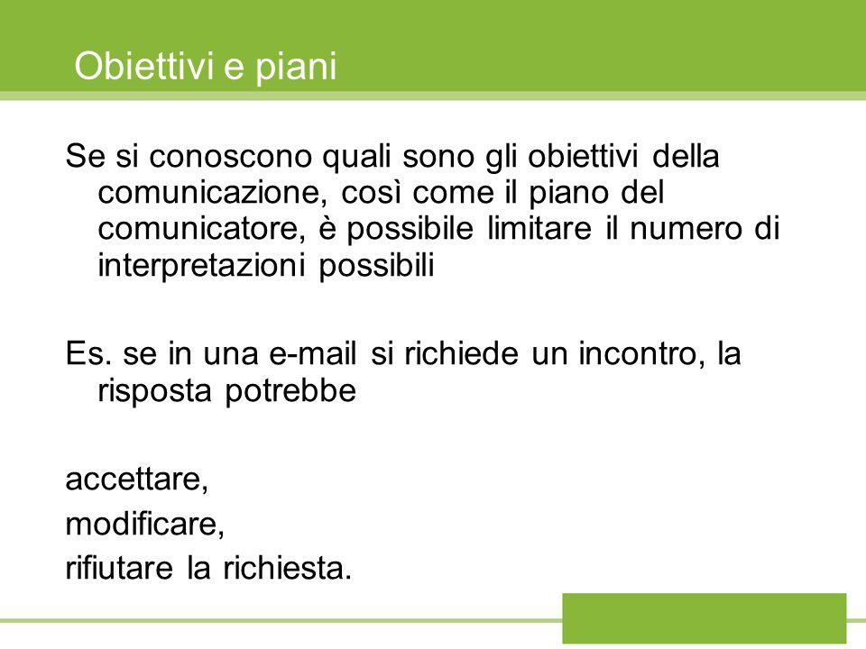 Obiettivi e piani Se si conoscono quali sono gli obiettivi della comunicazione, così come il piano del comunicatore, è possibile limitare il numero di interpretazioni possibili Es.