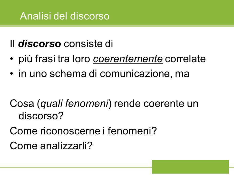 Analisi del discorso Il discorso consiste di più frasi tra loro coerentemente correlate in uno schema di comunicazione, ma Cosa (quali fenomeni) rende coerente un discorso.