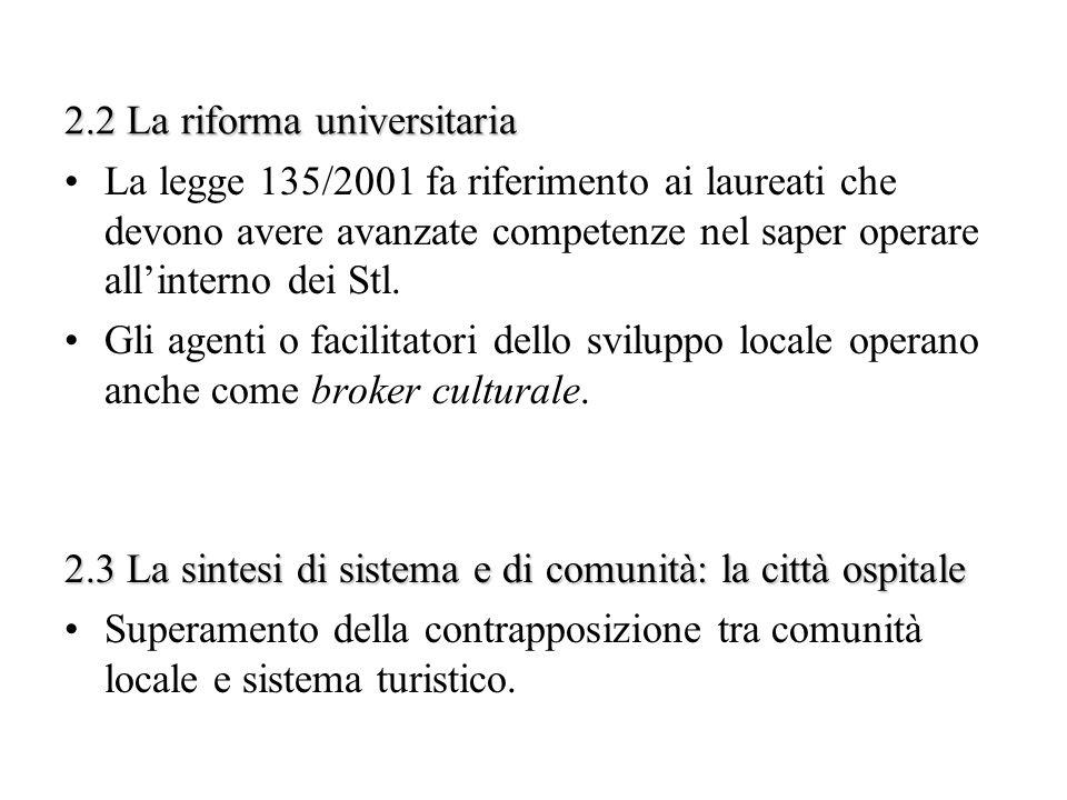 2.2 La riforma universitaria La legge 135/2001 fa riferimento ai laureati che devono avere avanzate competenze nel saper operare allinterno dei Stl. G