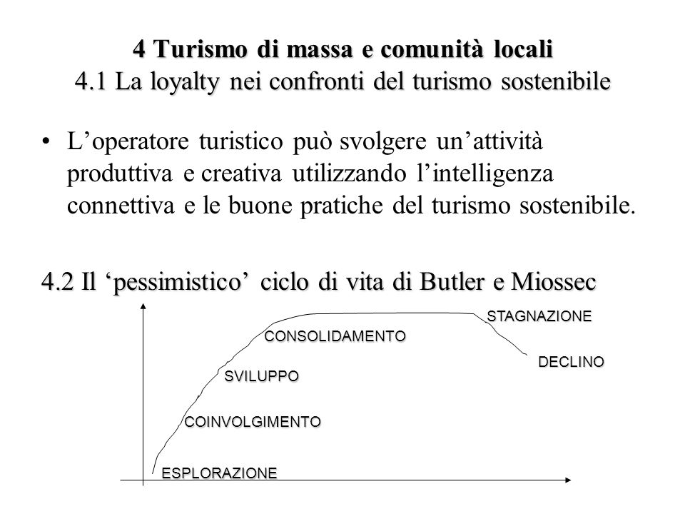 4 Turismo di massa e comunità locali 4.1 La loyalty nei confronti del turismo sostenibile Loperatore turistico può svolgere unattività produttiva e cr