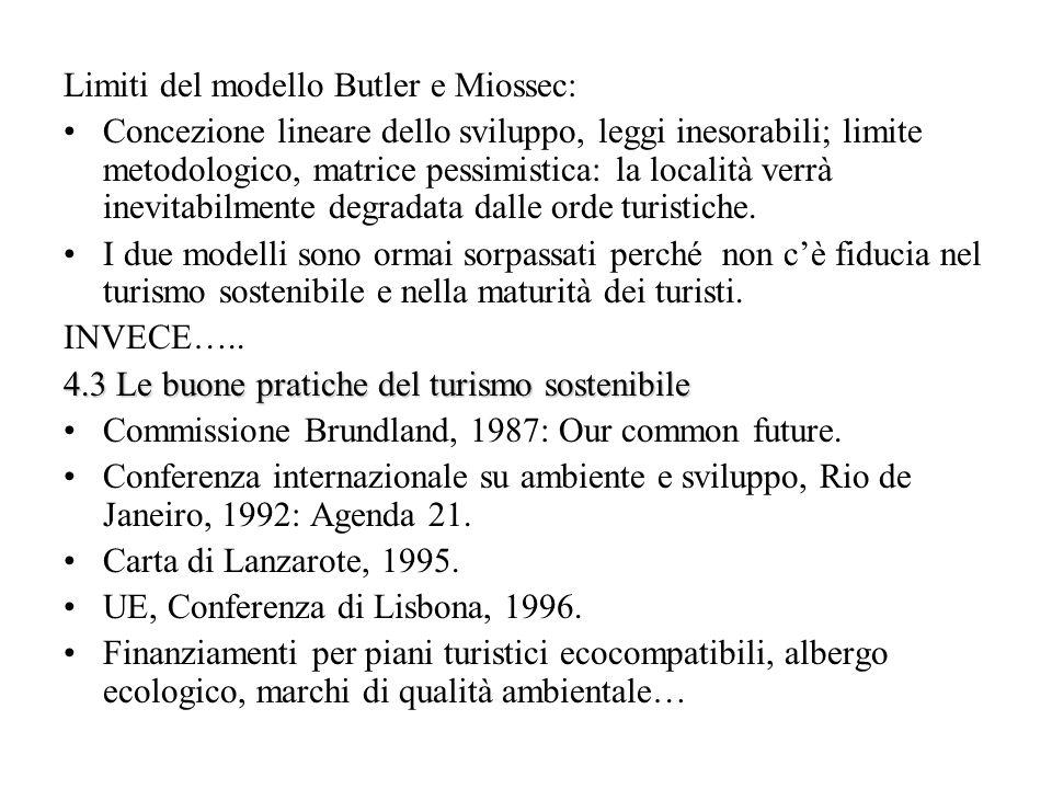Limiti del modello Butler e Miossec: Concezione lineare dello sviluppo, leggi inesorabili; limite metodologico, matrice pessimistica: la località verr