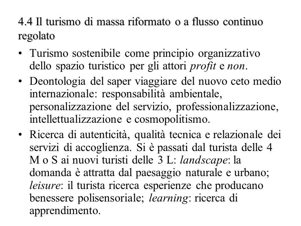 4.4 Il turismo di massa riformato o a flusso continuo regolato Turismo sostenibile come principio organizzativo dello spazio turistico per gli attori