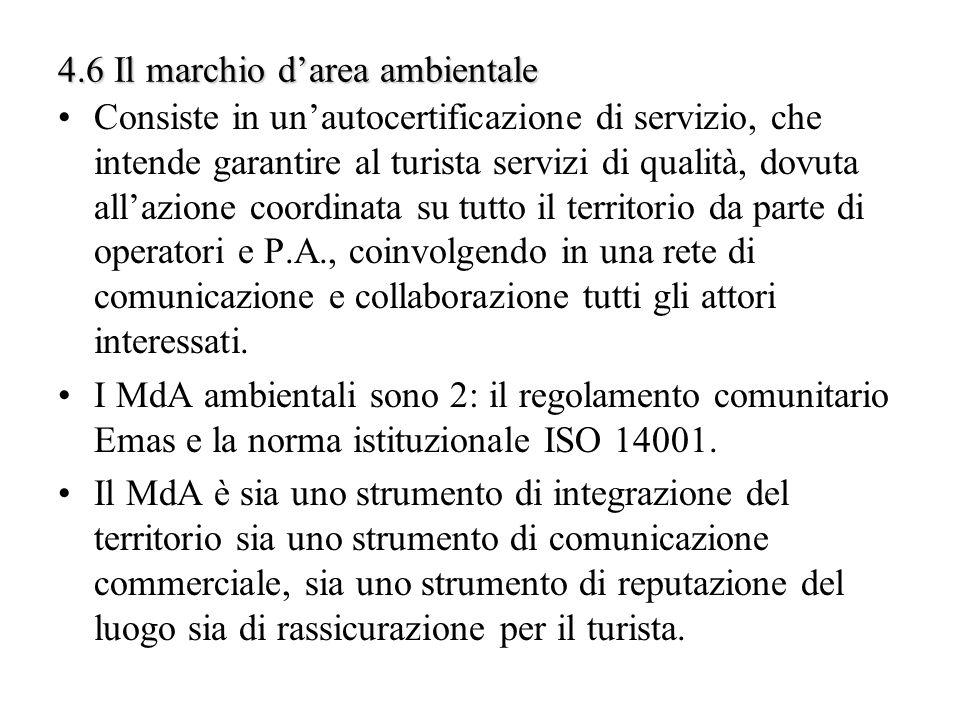 4.6 Il marchio darea ambientale Consiste in unautocertificazione di servizio, che intende garantire al turista servizi di qualità, dovuta allazione co