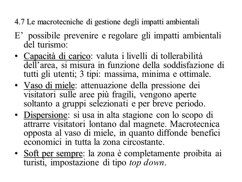 4.7 Le macrotecniche di gestione degli impatti ambientali E possibile prevenire e regolare gli impatti ambientali del turismo: Capacità di caricoCapac