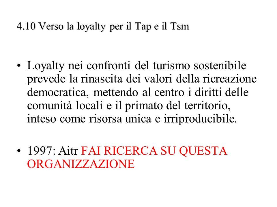 4.10 Verso la loyalty per il Tap e il Tsm Loyalty nei confronti del turismo sostenibile prevede la rinascita dei valori della ricreazione democratica,