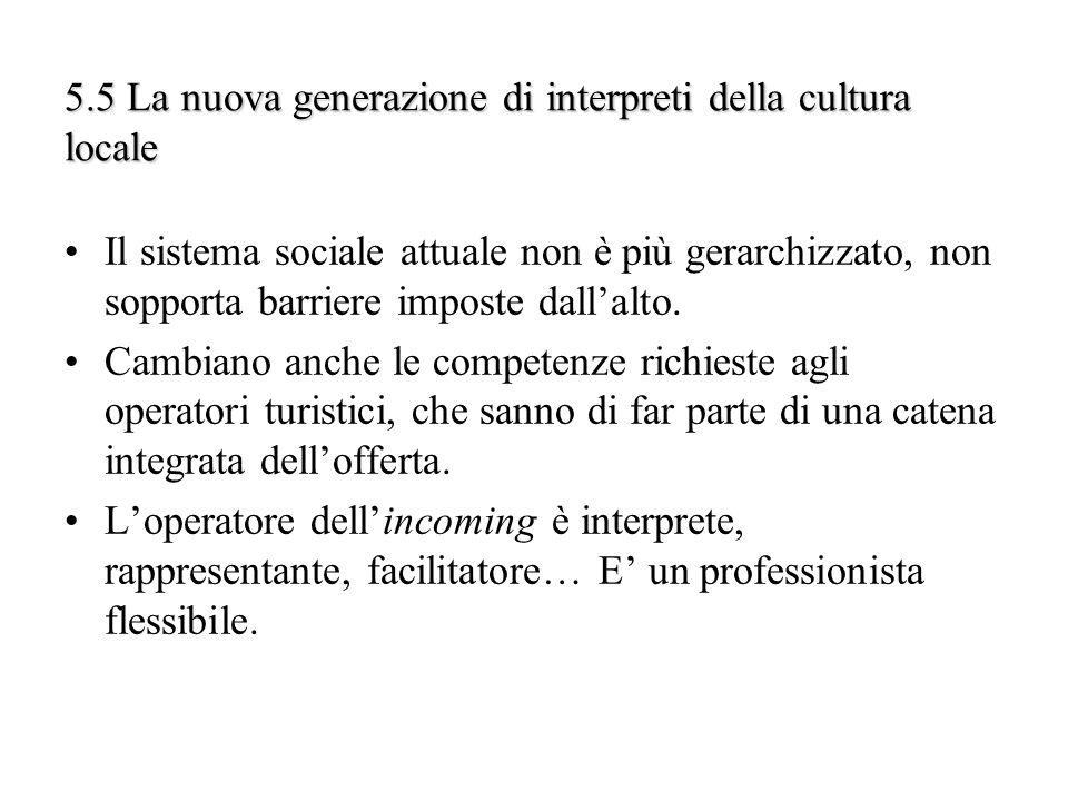 5.5 La nuova generazione di interpreti della cultura locale Il sistema sociale attuale non è più gerarchizzato, non sopporta barriere imposte dallalto
