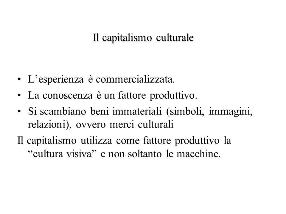 Il capitalismo culturale Lesperienza è commercializzata. La conoscenza è un fattore produttivo. Si scambiano beni immateriali (simboli, immagini, rela