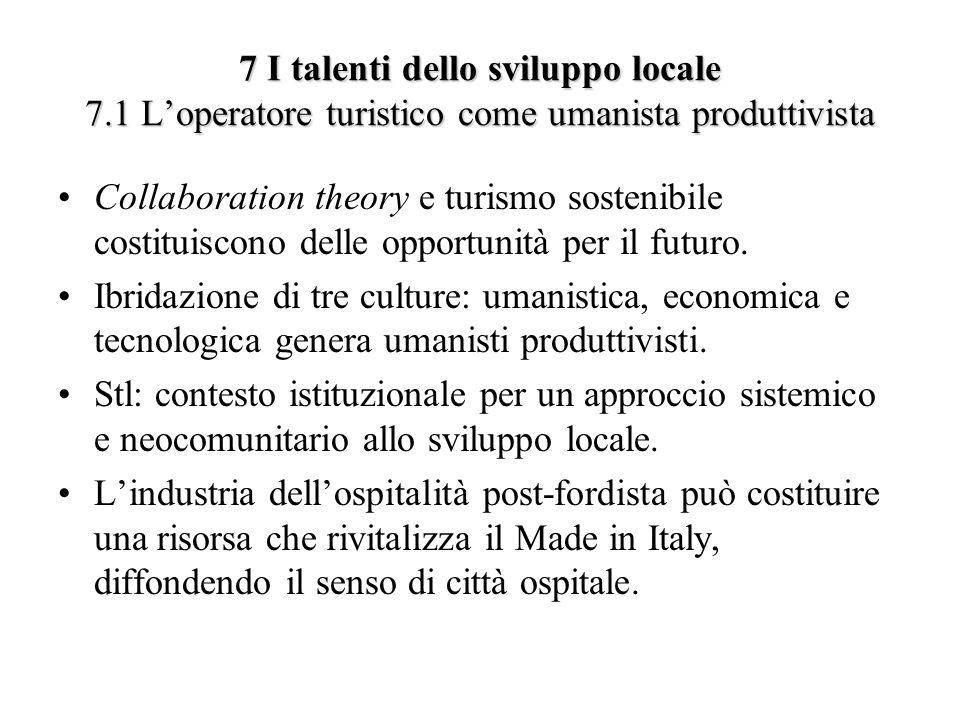 7 I talenti dello sviluppo locale 7.1 Loperatore turistico come umanista produttivista Collaboration theory e turismo sostenibile costituiscono delle