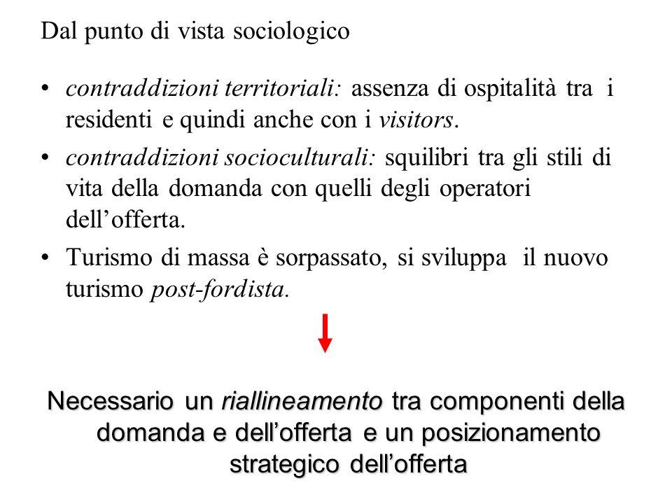 Dal punto di vista sociologico contraddizioni territoriali: assenza di ospitalità tra i residenti e quindi anche con i visitors. contraddizioni socioc