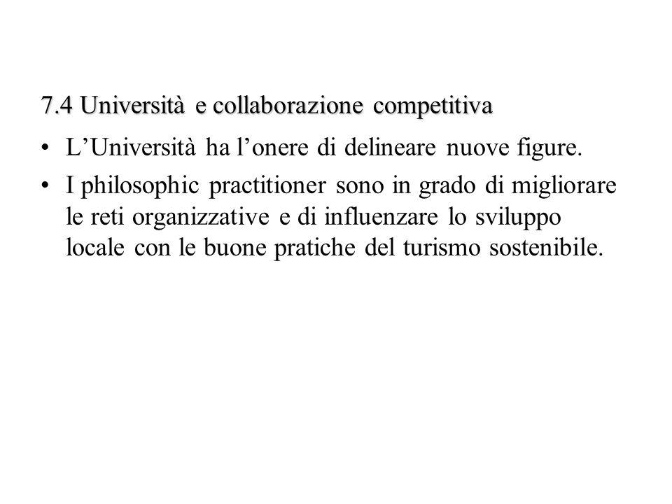 7.4 Università e collaborazione competitiva LUniversità ha lonere di delineare nuove figure. I philosophic practitioner sono in grado di migliorare le