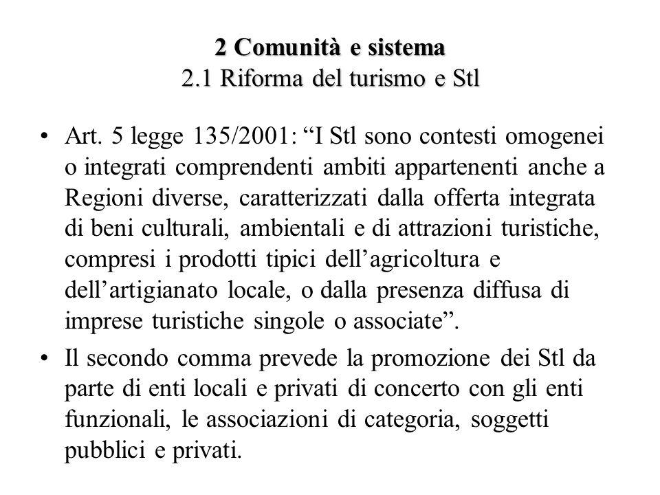 2 Comunità e sistema 2.1 Riforma del turismo e Stl Art. 5 legge 135/2001: I Stl sono contesti omogenei o integrati comprendenti ambiti appartenenti an