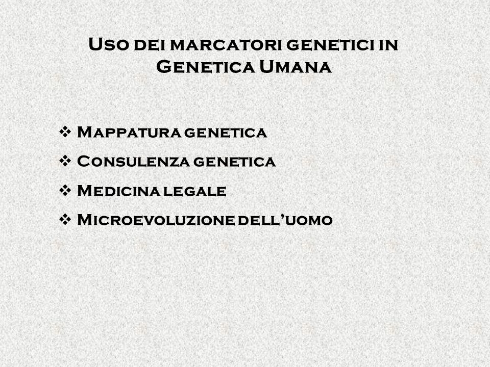 Uso dei marcatori genetici in Genetica Umana Mappatura genetica Consulenza genetica Medicina legale Microevoluzione delluomo