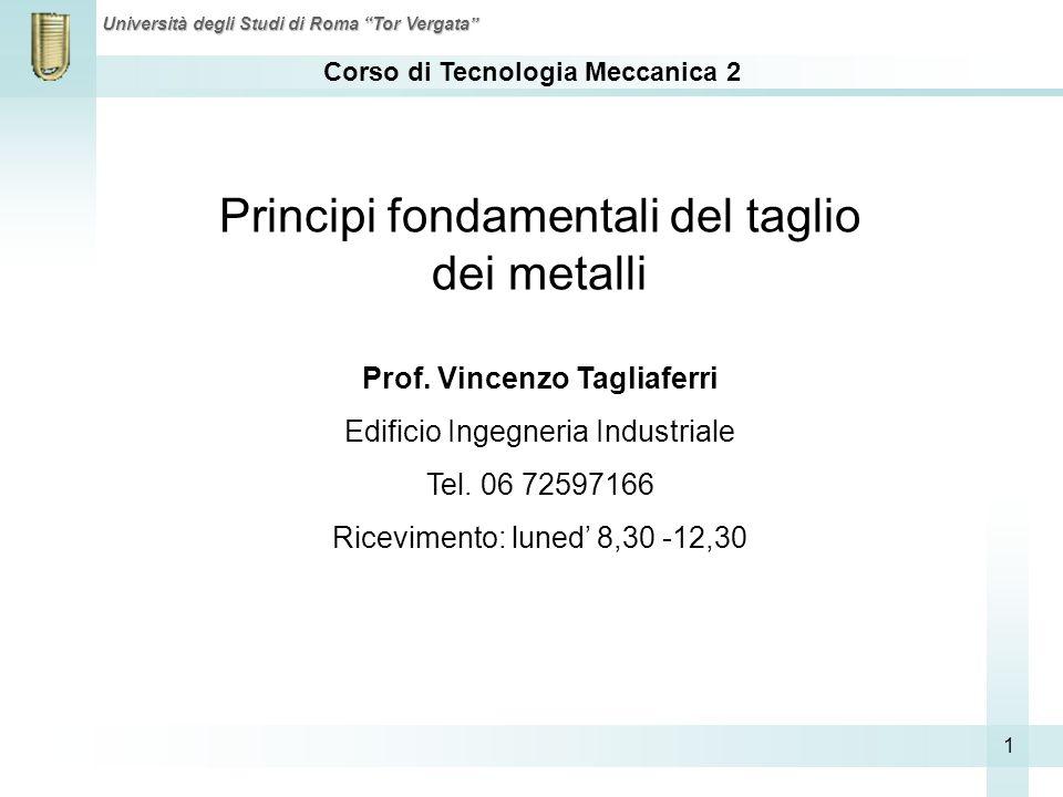 Corso di Tecnologia Meccanica 2 Università degli Studi di Roma Tor Vergata 1 Principi fondamentali del taglio dei metalli Prof. Vincenzo Tagliaferri E