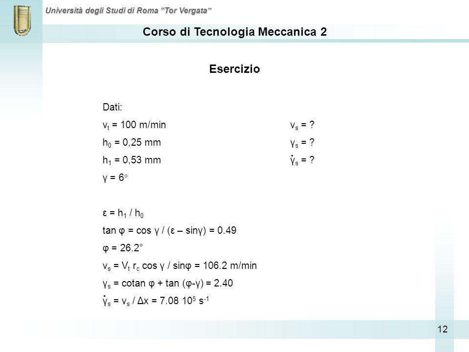 Corso di Tecnologia Meccanica 2 Università degli Studi di Roma Tor Vergata 12 Esercizio Dati: v t = 100 m/minv s = ? h 0 = 0,25 mmγ s = ? h 1 = 0,53 m