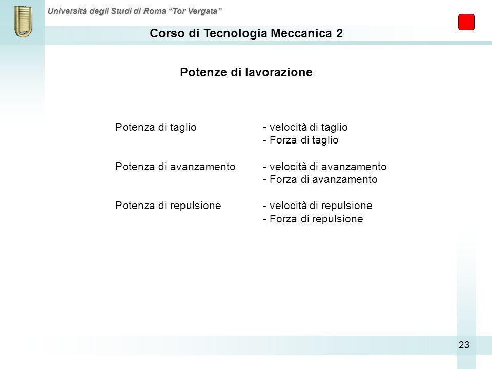 Corso di Tecnologia Meccanica 2 Università degli Studi di Roma Tor Vergata 23 Potenze di lavorazione Potenza di taglio - velocità di taglio - Forza di