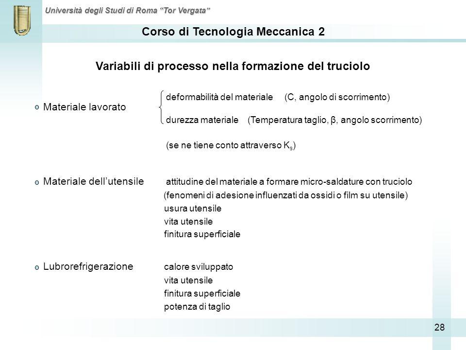 Corso di Tecnologia Meccanica 2 Università degli Studi di Roma Tor Vergata 28 Materiale lavorato Materiale dellutensile attitudine del materiale a for
