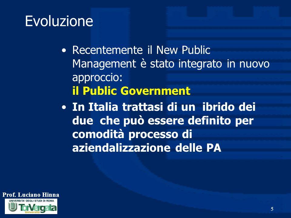Prof. Luciano Hinna 5 Evoluzione Recentemente il New Public Management è stato integrato in nuovo approccio: il Public Government In Italia trattasi d