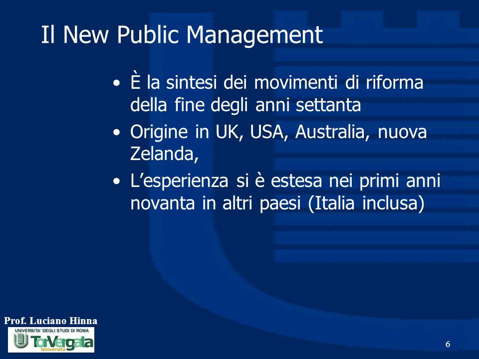 Prof. Luciano Hinna 6 Il New Public Management È la sintesi dei movimenti di riforma della fine degli anni settanta Origine in UK, USA, Australia, nuo