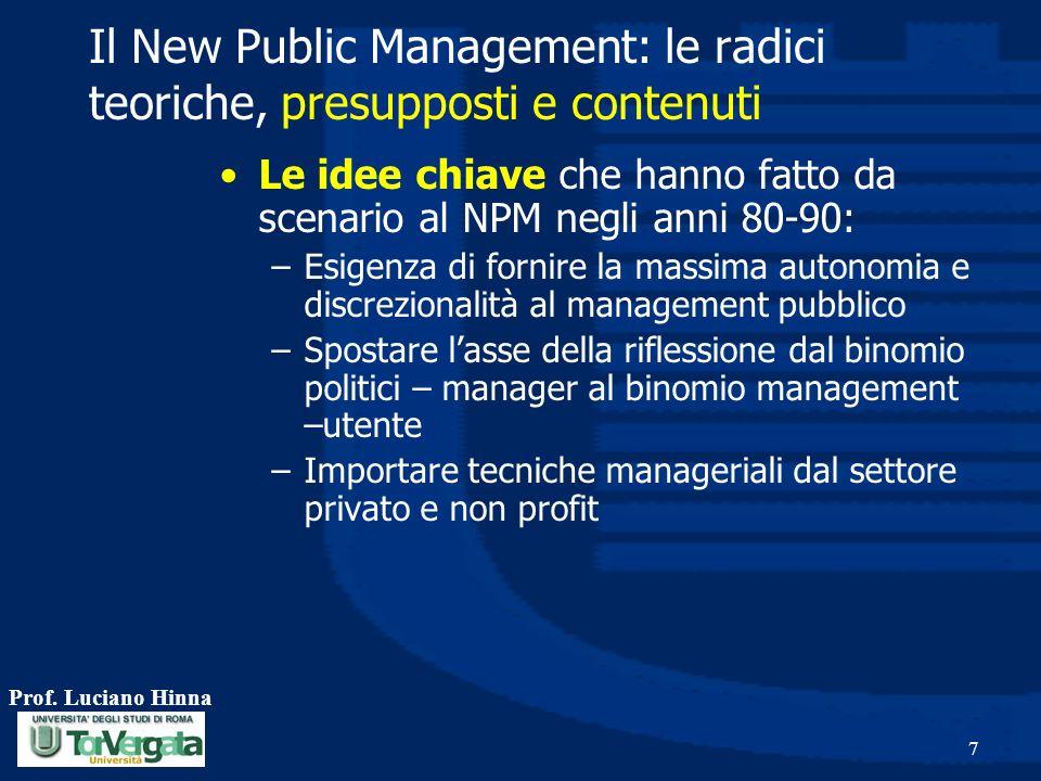 Prof. Luciano Hinna 7 Il New Public Management: le radici teoriche, presupposti e contenuti Le idee chiave che hanno fatto da scenario al NPM negli an