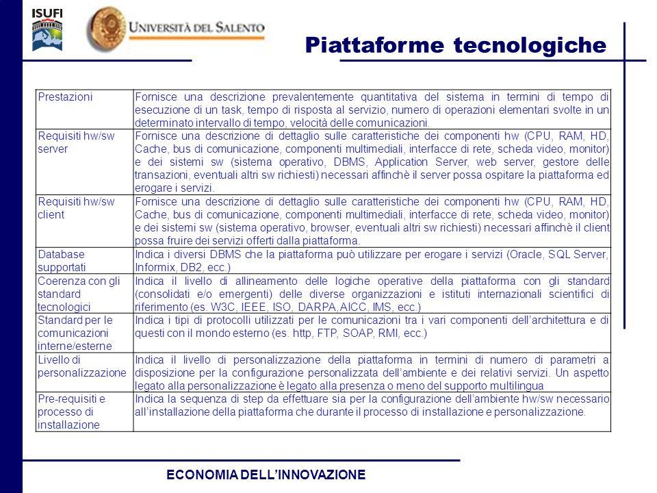 Piattaforme tecnologiche ECONOMIA DELLINNOVAZIONE PrestazioniFornisce una descrizione prevalentemente quantitativa del sistema in termini di tempo di