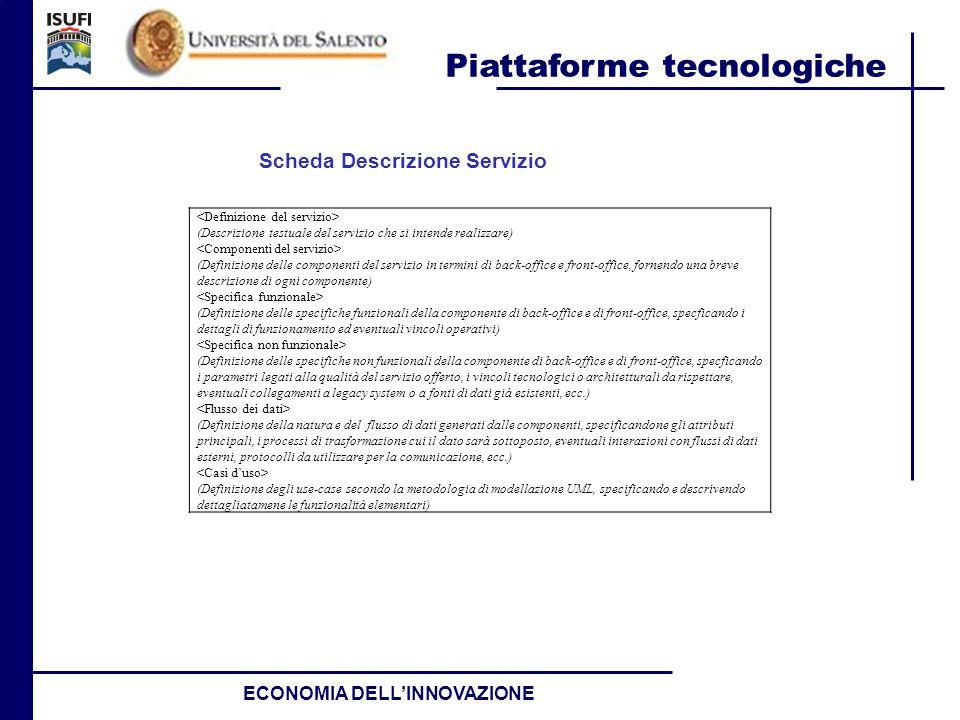 Piattaforme tecnologiche ECONOMIA DELLINNOVAZIONE (Descrizione testuale del servizio che si intende realizzare) (Definizione delle componenti del serv