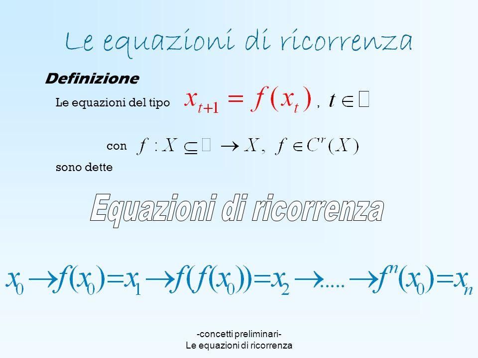 -concetti preliminari- Le equazioni di ricorrenza Le equazioni del tipo, con sono dette Le equazioni di ricorrenza Definizione