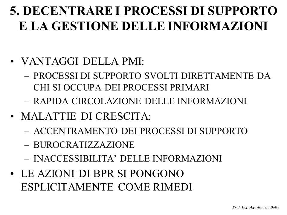 Prof. Ing. Agostino La Bella 5. DECENTRARE I PROCESSI DI SUPPORTO E LA GESTIONE DELLE INFORMAZIONI VANTAGGI DELLA PMI: –PROCESSI DI SUPPORTO SVOLTI DI