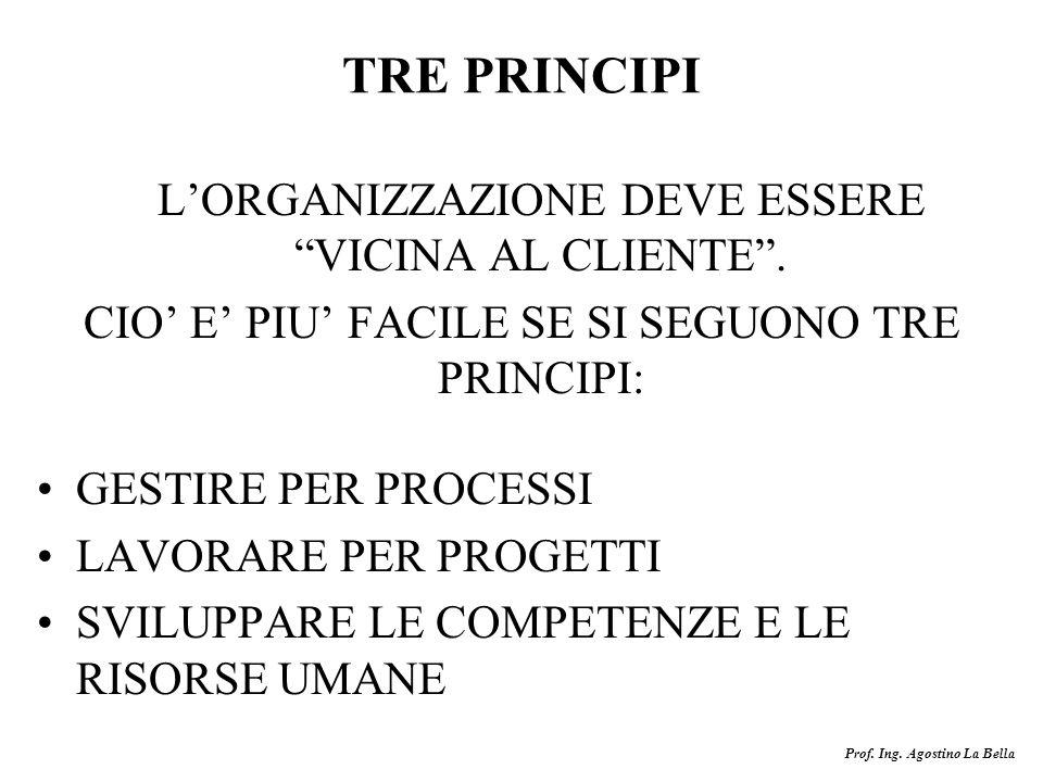 Prof. Ing. Agostino La Bella TRE PRINCIPI LORGANIZZAZIONE DEVE ESSERE VICINA AL CLIENTE. CIO E PIU FACILE SE SI SEGUONO TRE PRINCIPI: GESTIRE PER PROC