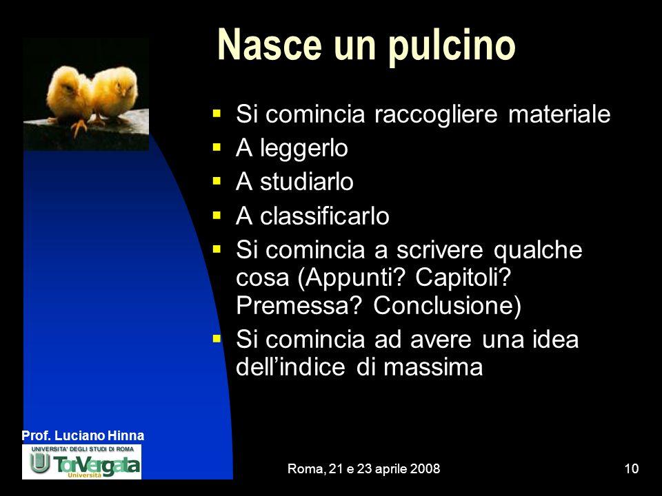 Prof. Luciano Hinna Roma, 21 e 23 aprile 200810 Nasce un pulcino Si comincia raccogliere materiale A leggerlo A studiarlo A classificarlo Si comincia