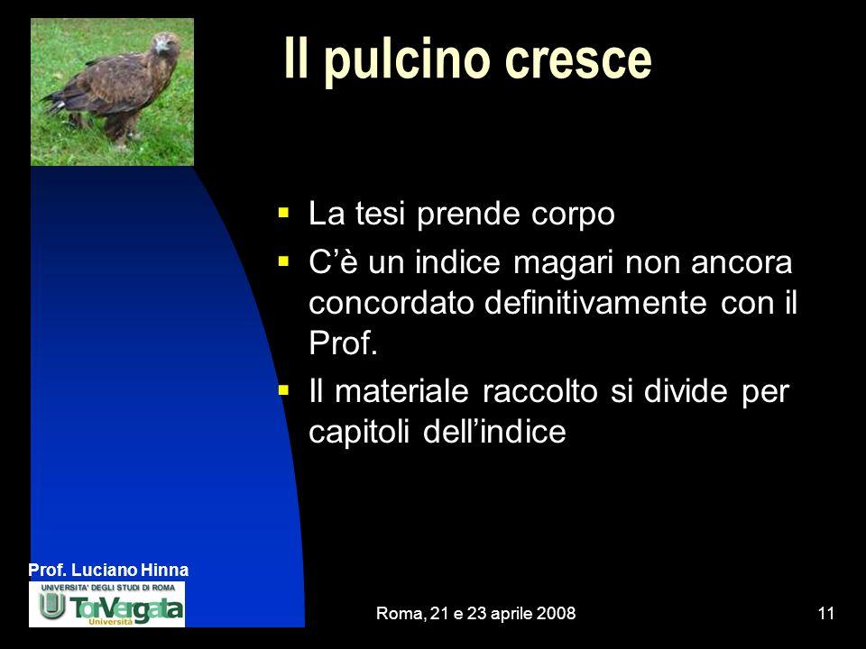 Prof. Luciano Hinna Roma, 21 e 23 aprile 200811 Il pulcino cresce La tesi prende corpo Cè un indice magari non ancora concordato definitivamente con i