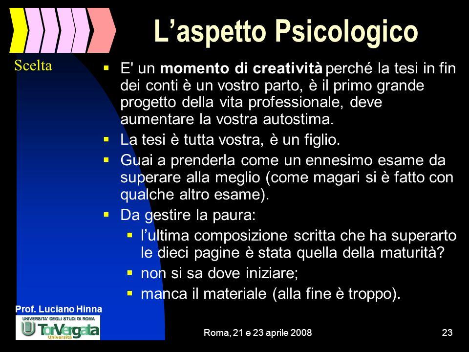 Prof. Luciano Hinna Roma, 21 e 23 aprile 200823 Laspetto Psicologico E' un momento di creatività perché la tesi in fin dei conti è un vostro parto, è